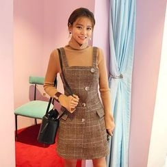DABAGIRL - Sleeveless Buttoned Glen-Plaid Mini Dress