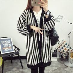 Sienne - Chevron Open Front Chunky Cardigan