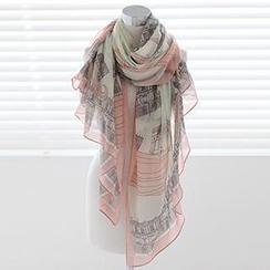 Rita Zita - 印花棉质薄围巾