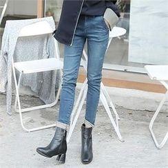 ZIZIBEZIRONG - Fray-Hem Washed Skinny Jeans