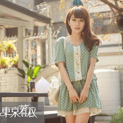 Tokyo Fashion - Short-Sleeved Lace Trim Drawcord Dotted Dress