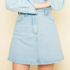 chuu - Washed Denim A-Line Mini Skirt