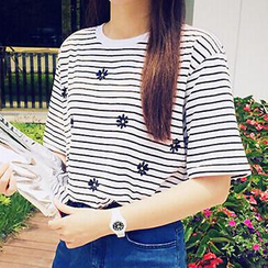 Dute - Striped T-Shirt with Floral Embroidery