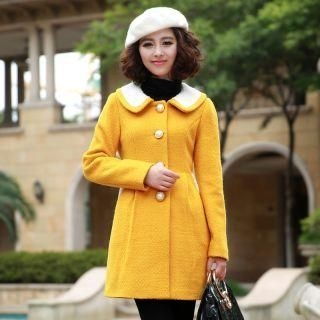 Mooiee - Contrast-Collar Single-Breasted Coat