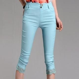 On The Block - Lace-Trim Cropped Skinny Pants