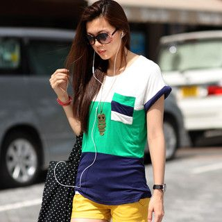 59 Seconds - Pocket-Detail Color-Block Top