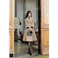 MyFiona - Wide-Lapel A-Line Long Coat