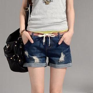 On The Block - Distressed Cuffed Denim Shorts