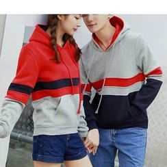 Bay Go Mall - Couple Matching Color Panel Hoodie