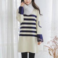 JUSTONE - Stripe Knit Shift Dress