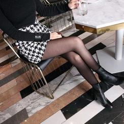 DABAGIRL - High-Waist Wool Blend Houndstooth Mini Skirt