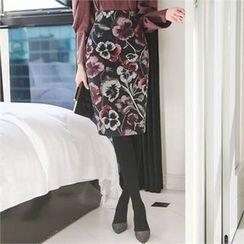 ode' - High Waist Floral Print Pencil Skirt