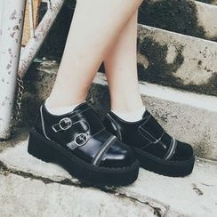 SouthBay Shoes - Buckled Platform Slip-Ons