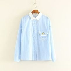Mushi - Letter Embroidered Pinstriped Shirt