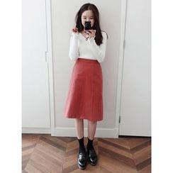 maybe-baby - Seam-Front Midi Skirt