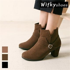 Wifky - Buckled Faux-Suede Ankle Boots