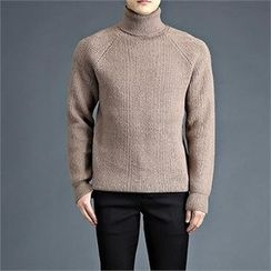 THE COVER - Turtle-Neck Raglan-Sleeve Knit Top