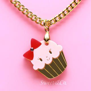 Sweet & Co. - Miss Cupcake Strawberry Crystal Gold Necklace