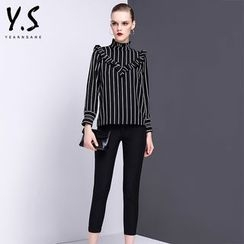 Y:Q - Set: Ruffle Trim Striped Long-Sleeve Blouse + Dress Pants