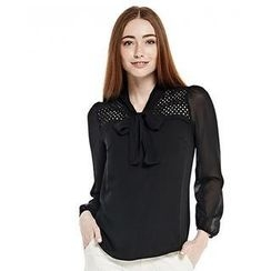 O.SA - Tie-Neck Lace-Panel Blouse