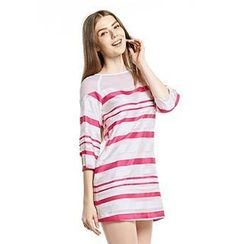 O.SA - 3/4-Sleeve Striped Raglan Dress