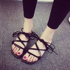 Laceuplux - Lace Up Flat Sandals