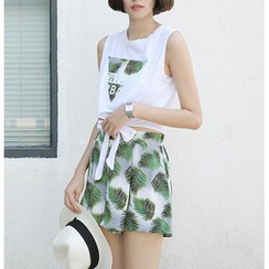 Sens Collection - Set: Printed Tie Waist Tank Top + Leaf Print Band Waist Shorts