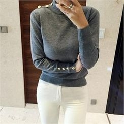 LIPHOP - Buttoned Accent Mock-Neck Knit Top