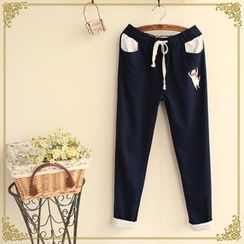 Fairyland - Cat Embroidered Drawcord Tapered Pants
