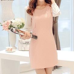 YUMU - Long-Sleeve Panel Sheath Dress