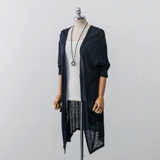 PEPER - Asymmetric-Hem Sheer Long Cardigan