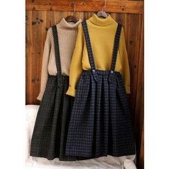 tete - 格紋背帶裙