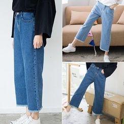 Happy Bird - Fray-Hem Wide-Leg Cropped Jeans
