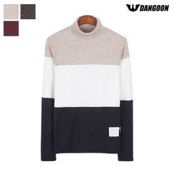 DANGOON - Turtle-Neck Color-Block Slim-Fit Top