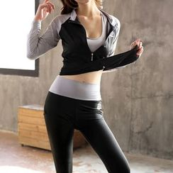 Fayton - Set: Color Panel Zip Jacket + Sports Bra + Yoga Pants
