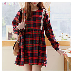 Sechuna - Lace-Trim Plaid Tunic