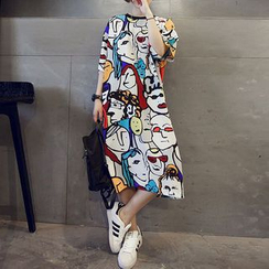 Ukiyo - Printed Elbow-Sleeve T-Shirt Dress