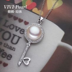 ViVi Pearl - Sterling Silver Freshwater Pearl Key Necklace