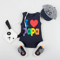 MOM Kiss - Baby Lettering Print Sleeveless Bodysuit