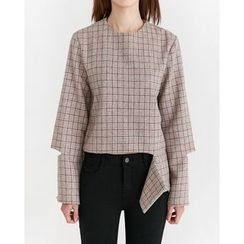 Someday, if - Cutout-Detail Wool Blend Top