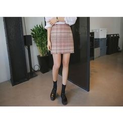 Envy Look - Fringed Check Tweed Mini Skirt