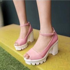 Tomma - Peep-Toe Platform Block Heels