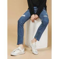 LOLOten - Distressed Straight-Cut Jeans