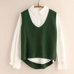 11.STREET - Plain V-Neck Knit Vest