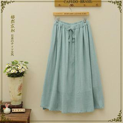 Storyland - Drawstring Plain A-Line Midi Skirt