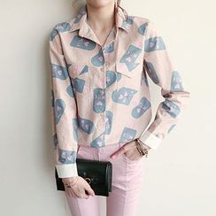 NIPONJJUYA - Dual-Pocket Contrast-Cuff Pattern Shirt