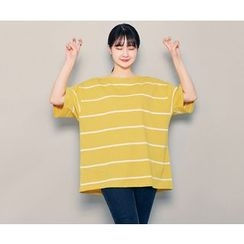 HOTPING - Round-Neck Striped Top