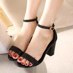 Mancienne - Glitter Chunky-Heel Sandals