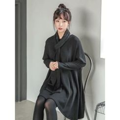 LOLOten - Flared Shift Dress with Scarf