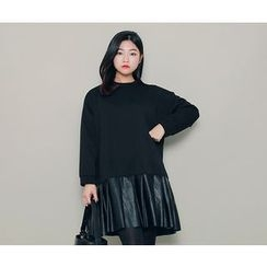 HOTPING - Faux-Leather Hem Pullover Dress